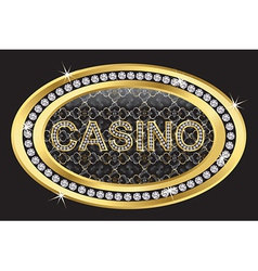 Casino gold sign with diamonds vector
