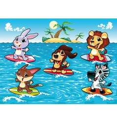 Funny animals are surfing in the sea vector