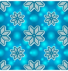 Christmas blue embroidery seamless pattern vector