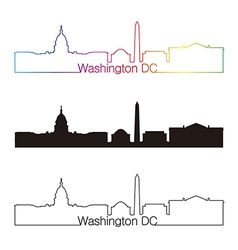 Washington dc skyline linear style with rainbow vector