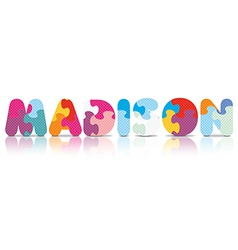 Madison written with alphabet puzzle vector