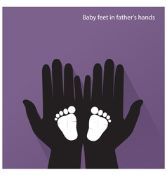 Baby feet in mother s hands vector