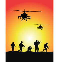 Soldiers group military helicopters vector