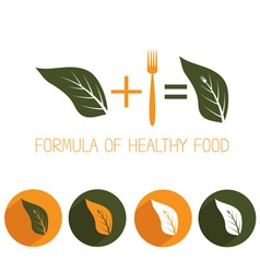 Formula of healthy food with leaf and fork vector