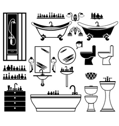 Set of black icons of bathroom vector