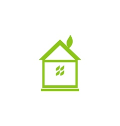Icon eco house with leaf vector