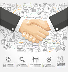 Business handshake infographics option vector