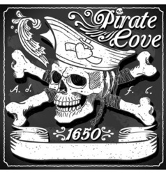 Black pirate cove flag - jolly roger vector