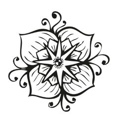 Amazing black flower in tattoo style vector
