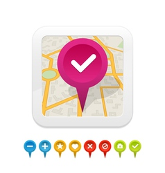 White gps navigator icon with labels vector