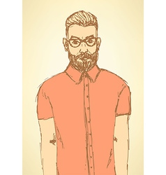 Sketch handsome hipster guy in vintage style vector