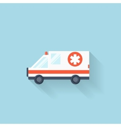 Flat web internet icon ambulance car vector
