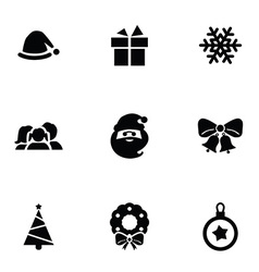New year icons 9 icons set vector
