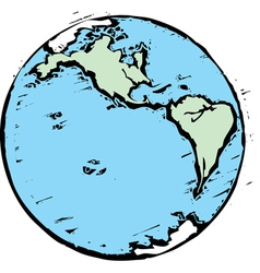 Woodcut earth west vector