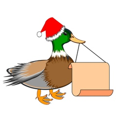 A christmas duck with a blank paper in his beak vector
