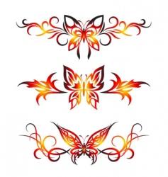 Set tribal with butterflies tattoo vector