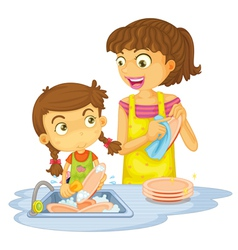 Girls washing plates vector