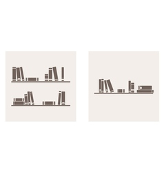 Books on the shelf simply retro set vector