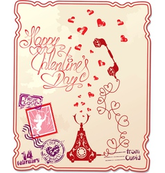 Holiday card with hand written text happy valentin vector