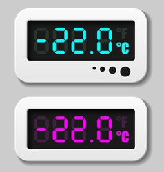 Glowing digital thermometer icons vector