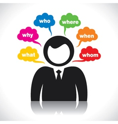 Businessmen with many question vector