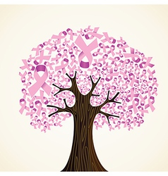 Breast cancer ribbon tree vector