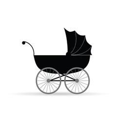 Baby carriage in black vector