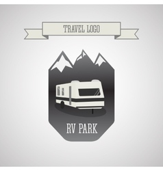 Rv and caravan park logo badges outdoor theme vector