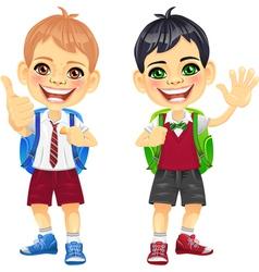 Happy smiling schoolchildren boys vector