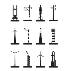 Industrial towers poles and chimneys vector