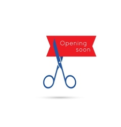 Scissors cut the red tape vector