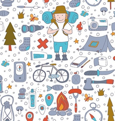 Seamless pattern with adventure equipment vector