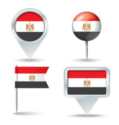 Map pins with flag of egypt vector