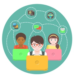 Children and social networking vector