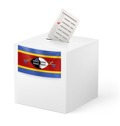 Ballot box with voting paper swaziland vector