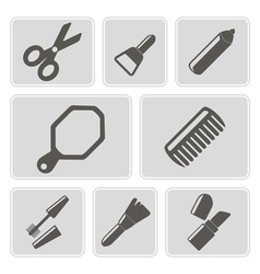 Monochrome icons with female stuff vector