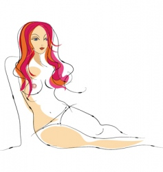 Sexy female nude sketch vector