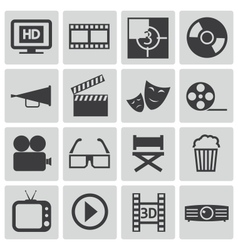 Black cinema icons set vector