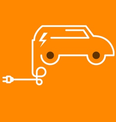 Symbolic electric car with plug vector
