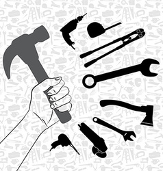 Hand holding hammer with pattern of tool vector