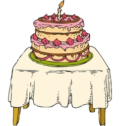 Cake on the table vector
