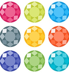 Flat gems icons set vector