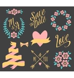 Big wedding graphic set vector