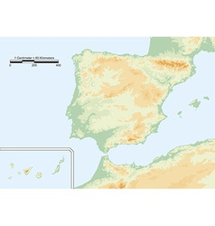 Physical map of spain vector