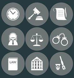 Law judge icon set justice sign vector