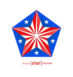 3d abstract star with puerto rico flag colors vector