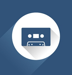 Modern audio icon with cassette and long shadow vector