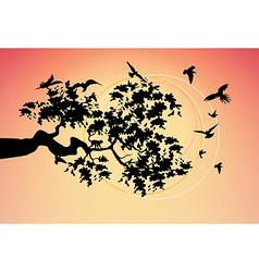Beautiful picture with the birds vector