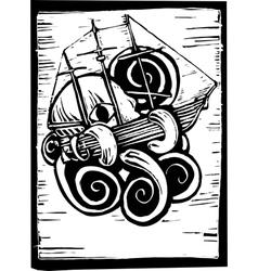 Kraken and ship vector