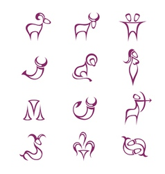 Zodiac signs burgundy color vector